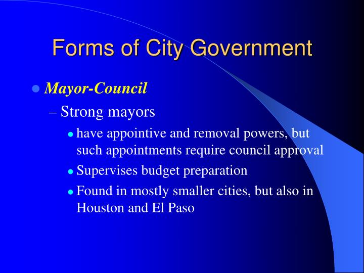 Forms of City Government