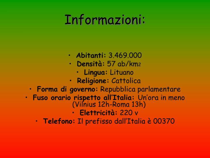 Informazioni:
