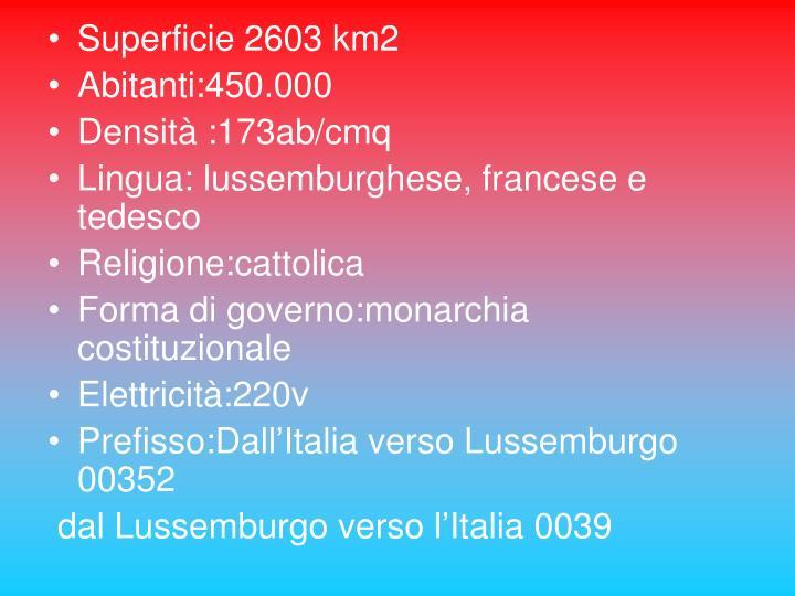 Superficie 2603 km2