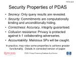 security properties of pdas