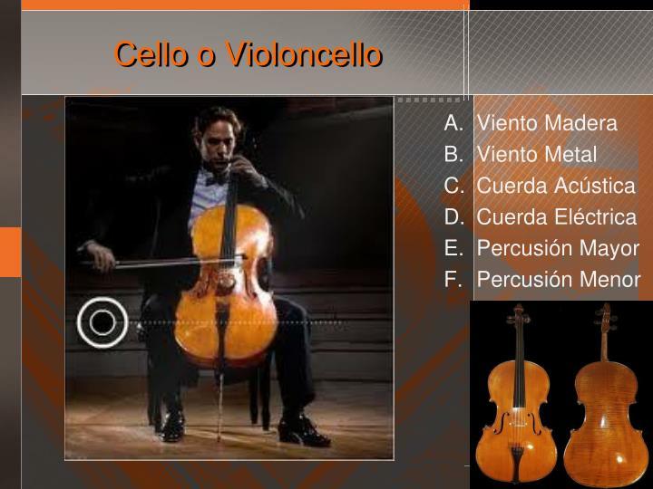 Cello o Violoncello