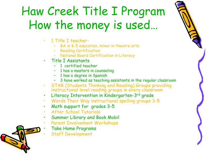 Haw Creek Title I Program