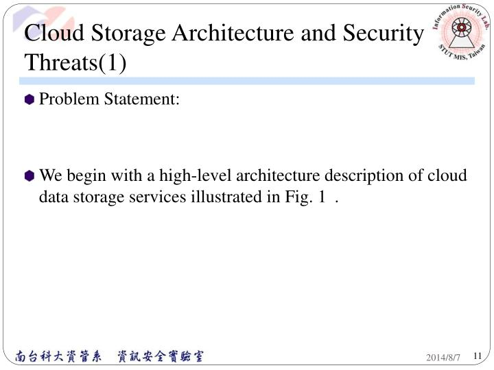 Cloud Storage Architecture and Security Threats(1)