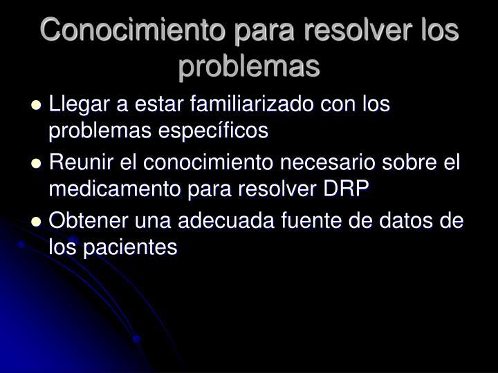 Conocimiento para resolver los problemas