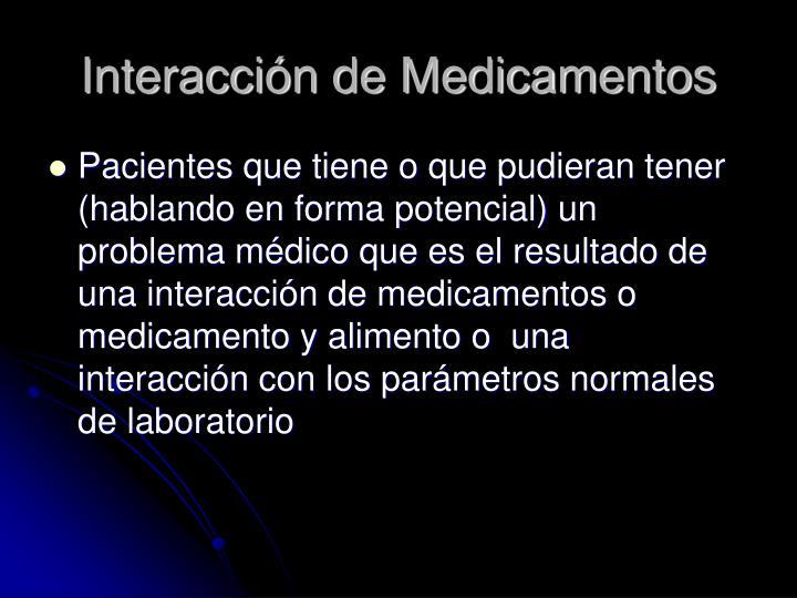 Interacción de Medicamentos