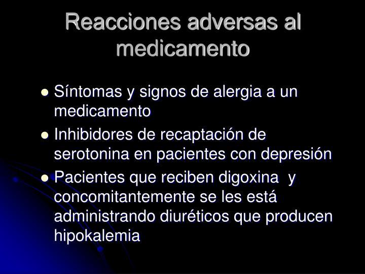 Reacciones adversas al medicamento