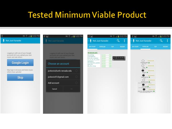 Tested minimum viable product