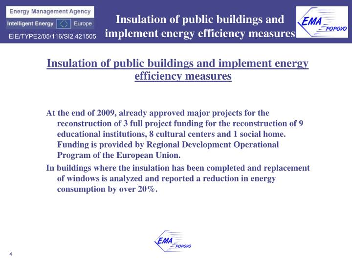 Insulation of public buildings and implement energy efficiency measures