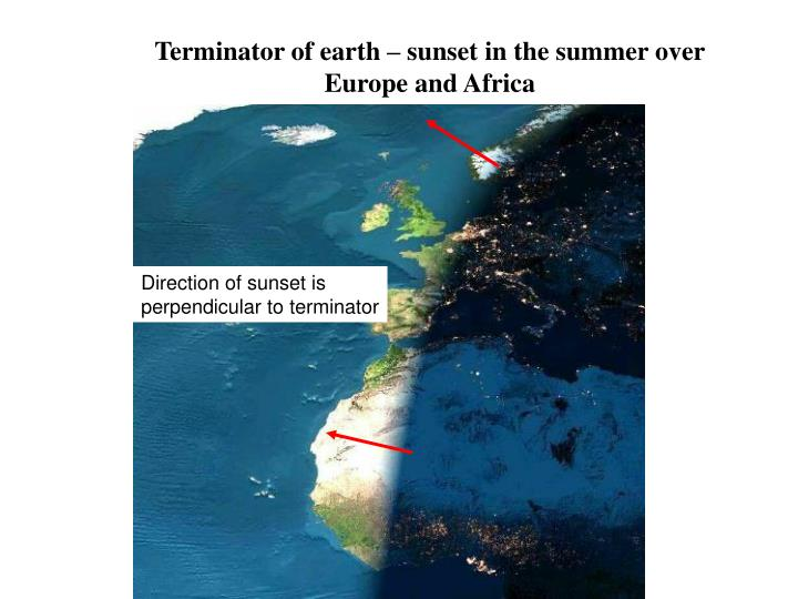 Terminator of earth – sunset in the summer over