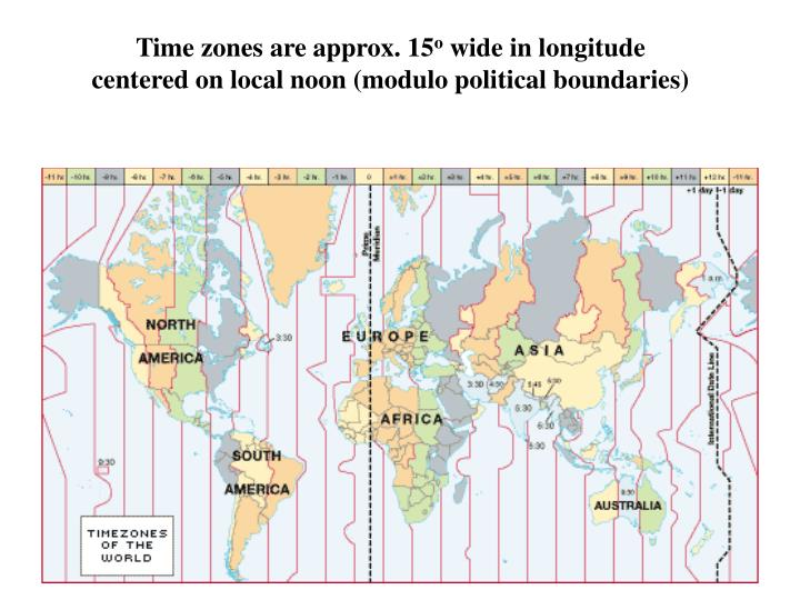 Time zones are approx. 15