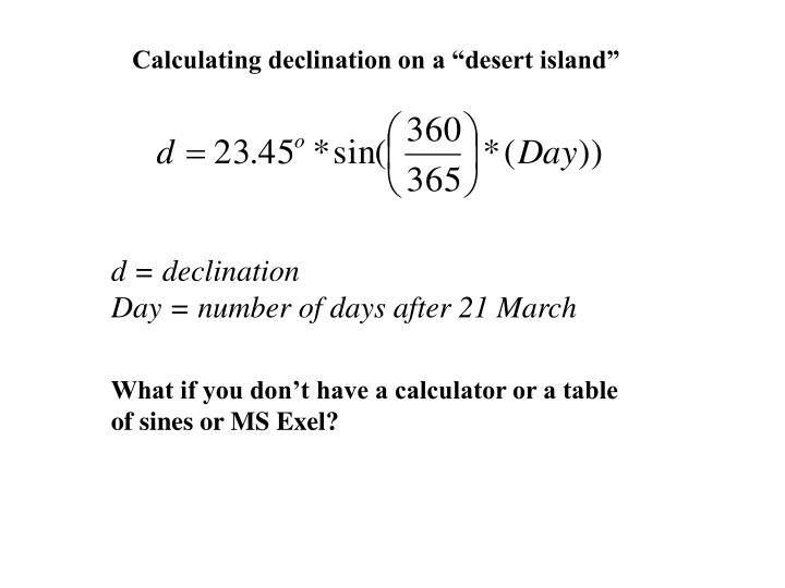 "Calculating declination on a ""desert island"""
