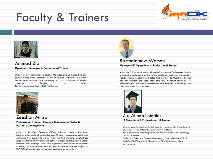 Faculty & Trainers