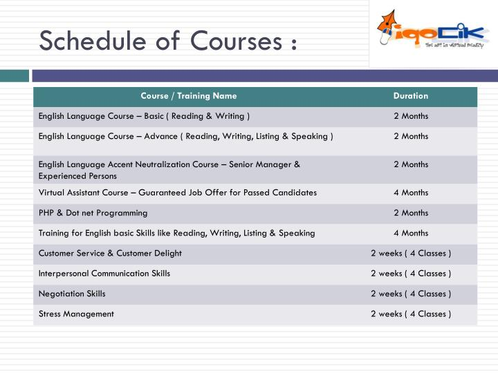 Schedule of Courses :