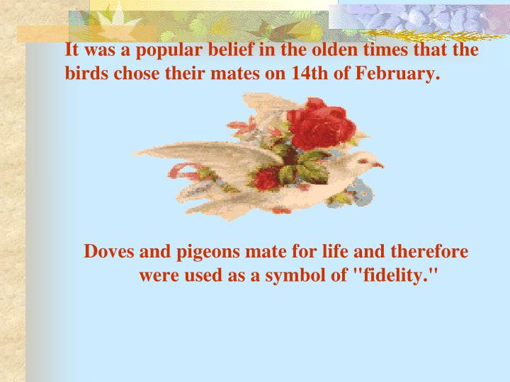 It was a popular belief in the olden times that the birds chose their mates on 14th of February.