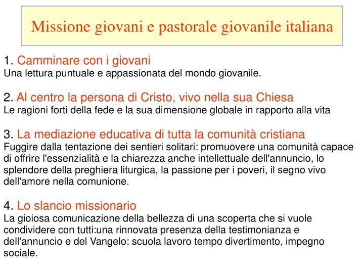 Missione giovani e pastorale giovanile italiana