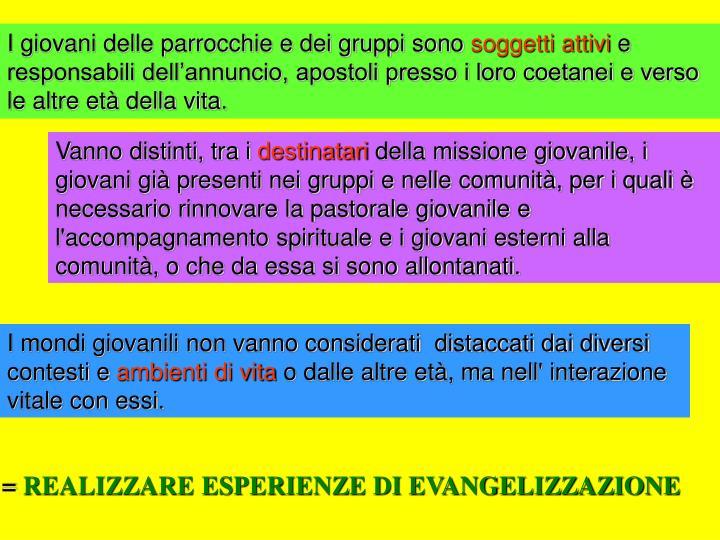 I giovani delle parrocchie e dei gruppi sono
