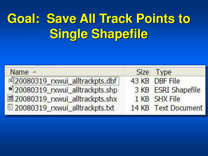 Goal:  Save All Track Points to Single Shapefile