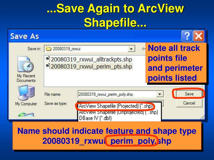 ...Save Again to ArcView Shapefile...