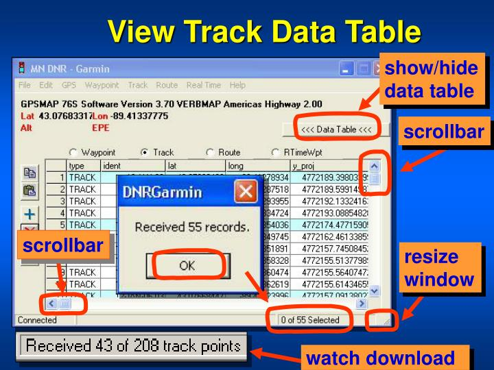 View Track Data Table