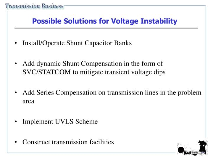 Possible Solutions for Voltage Instability