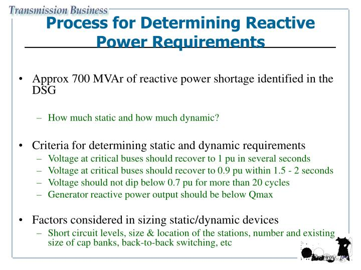 Process for Determining Reactive Power Requirements