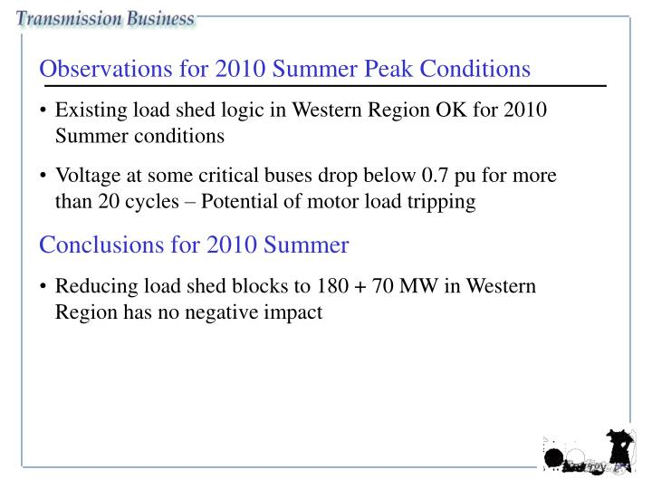 Observations for 2010 Summer Peak Conditions