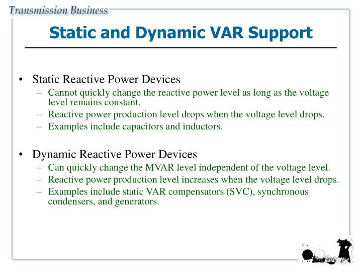 Static and Dynamic VAR Support
