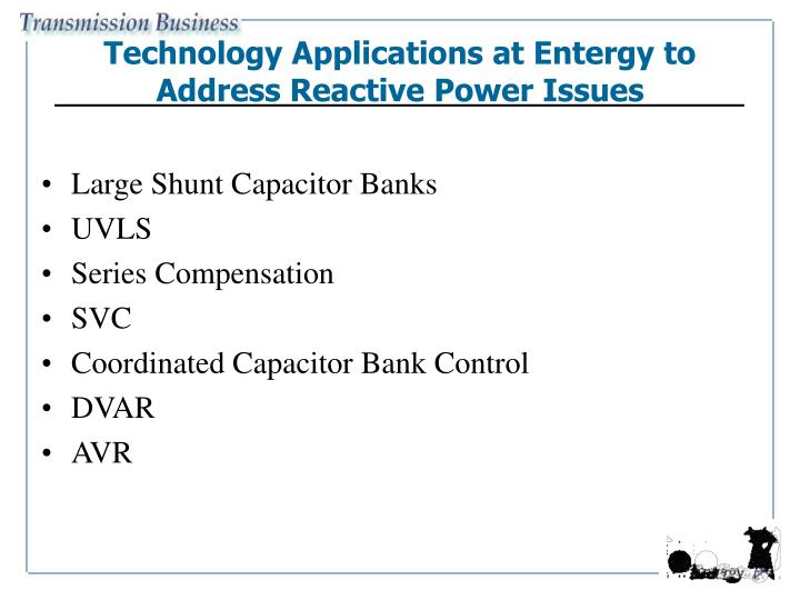 Technology Applications at Entergy to Address Reactive Power Issues
