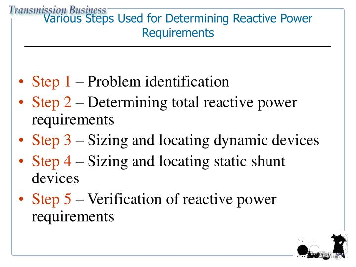 Various Steps Used for Determining Reactive Power Requirements