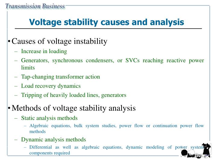 Voltage stability causes and analysis