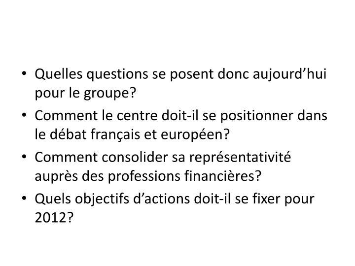 Quelles questions se posent donc aujourd'hui pour le groupe?
