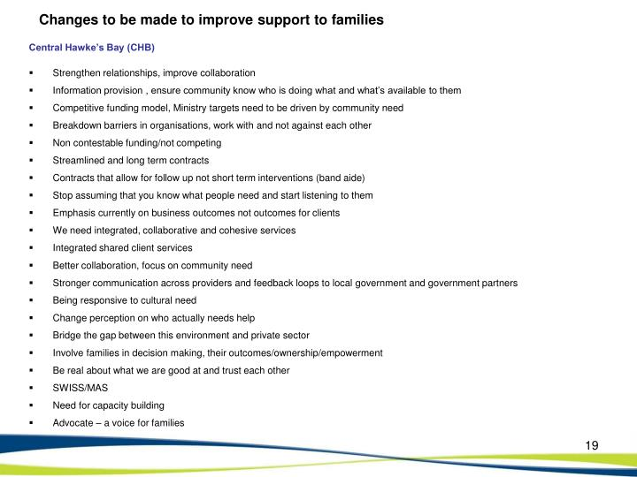 Changes to be made to improve support to families