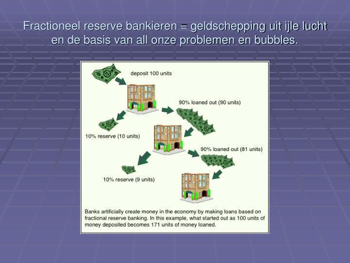 Fractioneel reserve bankieren = geldschepping uit ijle lucht en de basis van all onze problemen en bubbles.