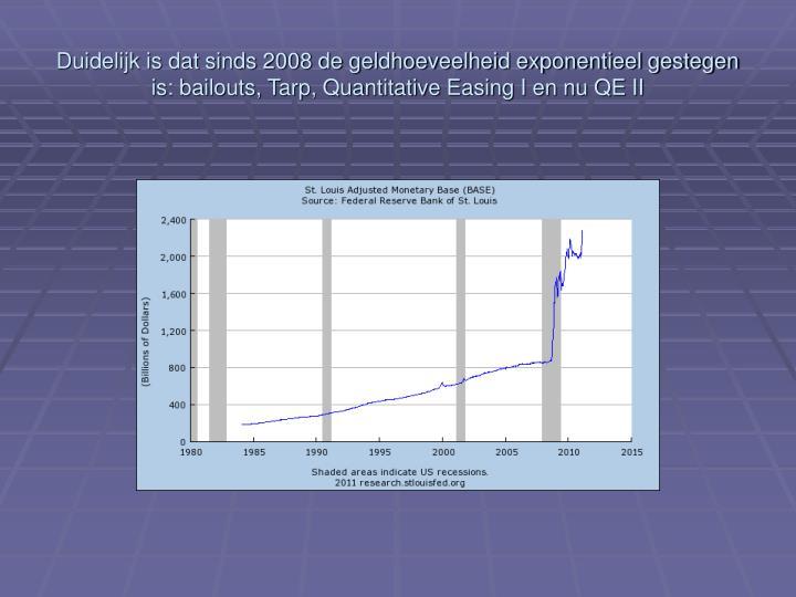 Duidelijk is dat sinds 2008 de geldhoeveelheid exponentieel gestegen is: bailouts, Tarp, Quantitative Easing I en nu QE II