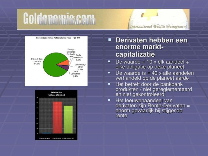 Derivaten hebben een enorme markt-capitalizatie