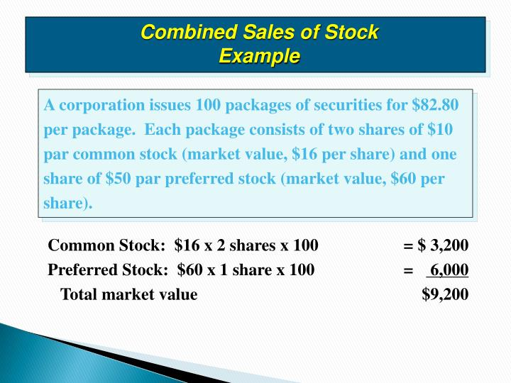 Combined Sales of Stock