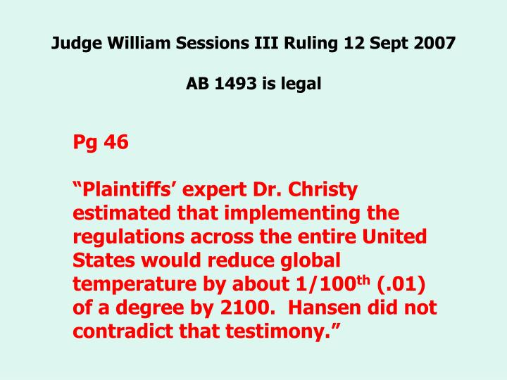 Judge William Sessions III Ruling 12 Sept 2007