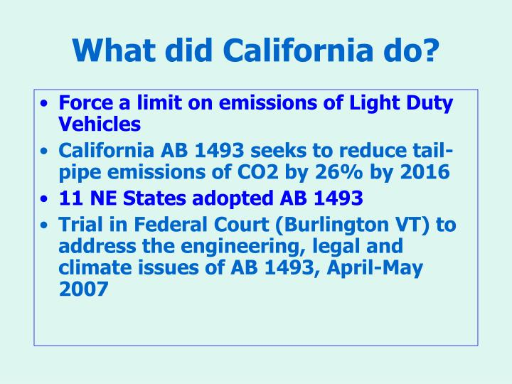 What did California do?