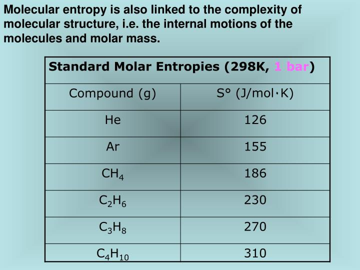 Molecular entropy is also linked to the complexity of molecular structure, i.e. the internal motions of the molecules and molar mass.