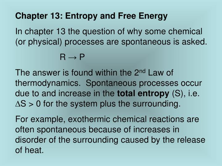 Chapter 13: Entropy and Free Energy