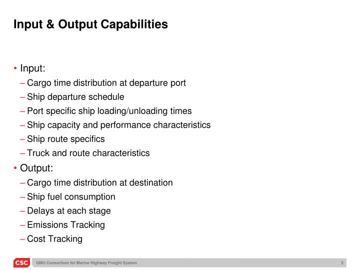Input & Output Capabilities