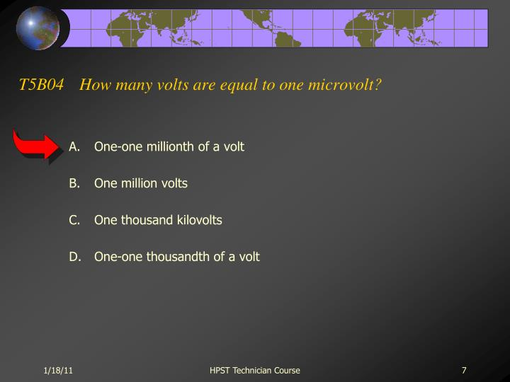 T5B04How many volts are equal to one microvolt?