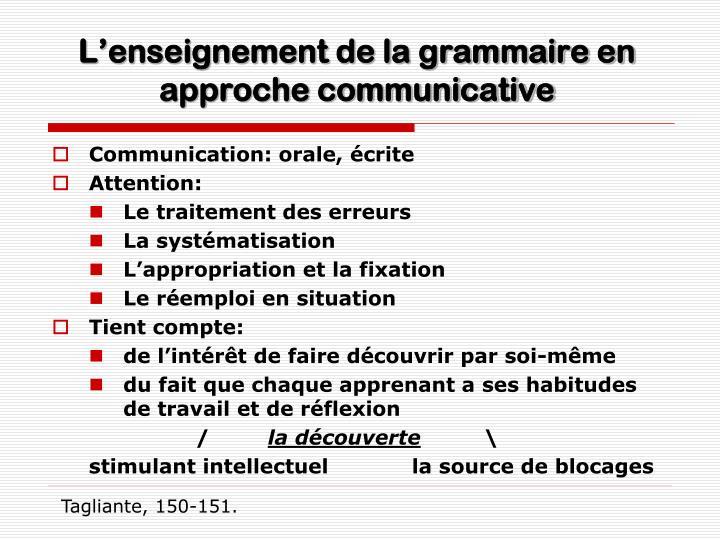 L'enseignement de la grammaire en approche communicative