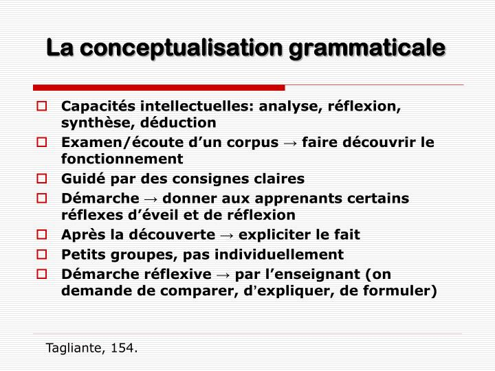 La conceptualisation grammaticale