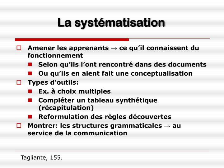 La systématisation