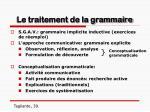le traitement de la grammaire