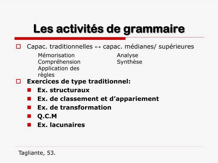 Les activités de grammaire