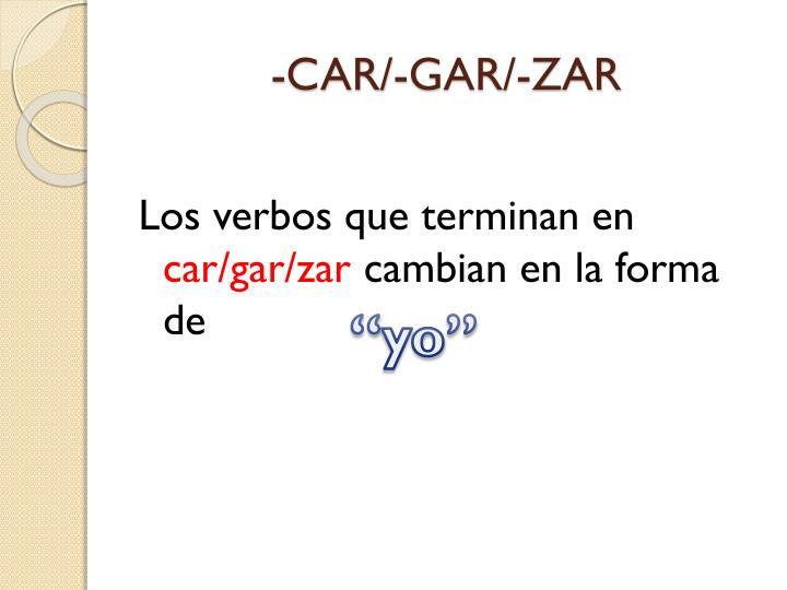 -CAR/-GAR/-ZAR
