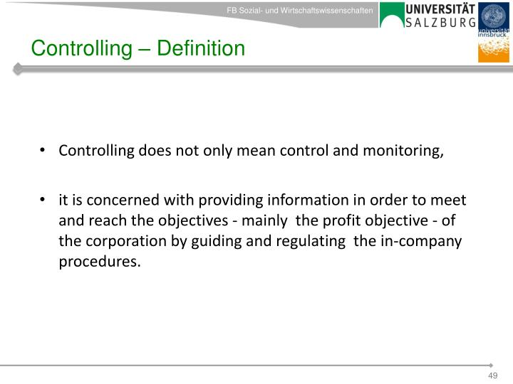 Controlling – Definition