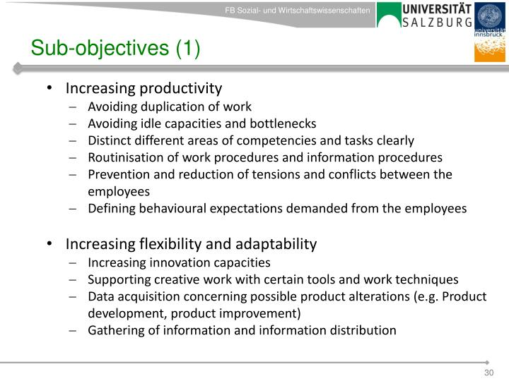 Sub-objectives (1)